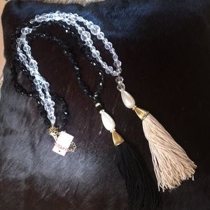 Two long tassel necklaces